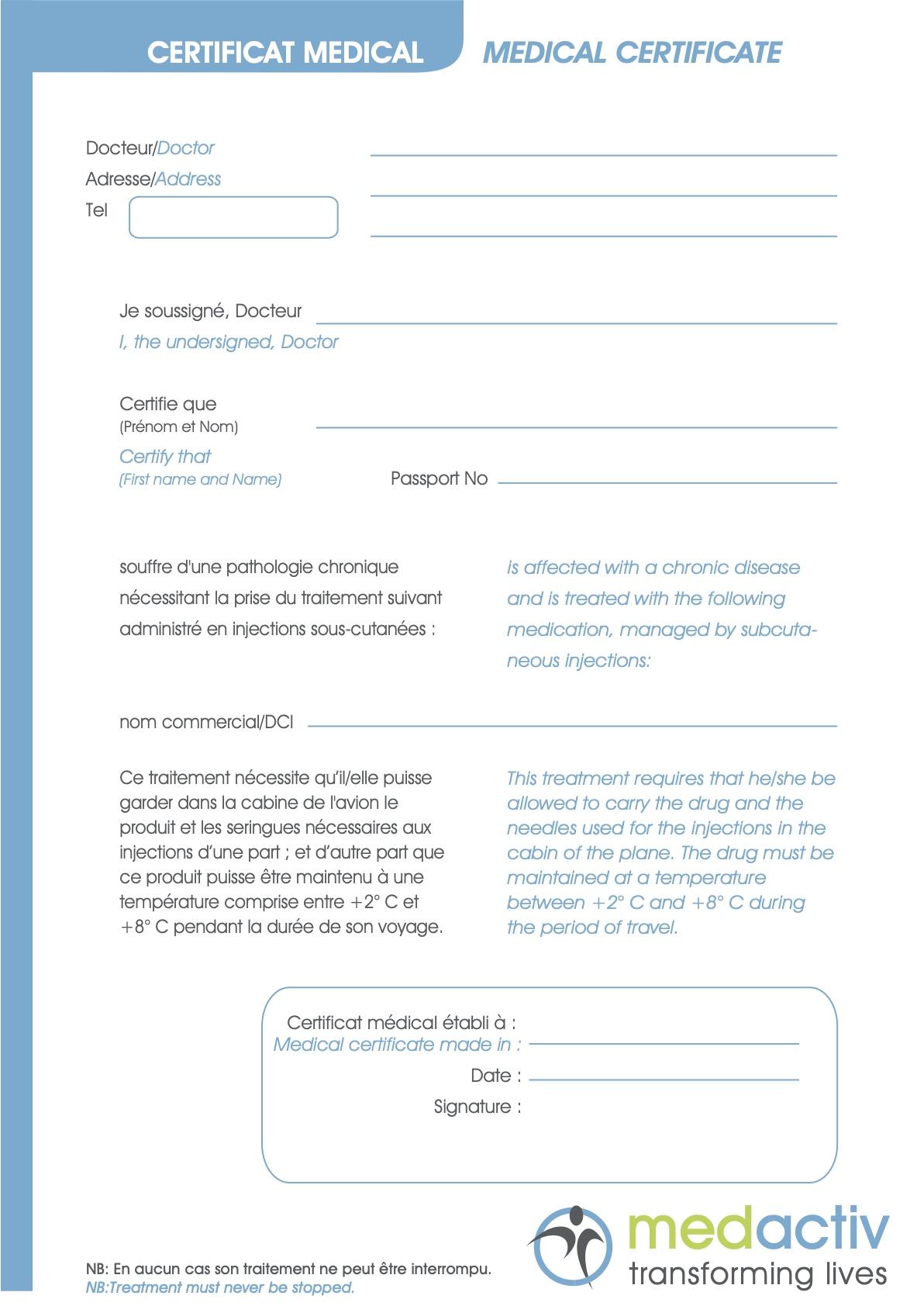 Medactiv medical certificates for travel